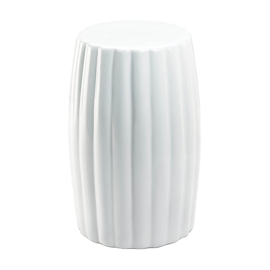 Glossy White Ceramic Stool