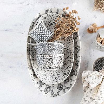 Hand-Stamped Stoneware Creamer & Sugar Jar