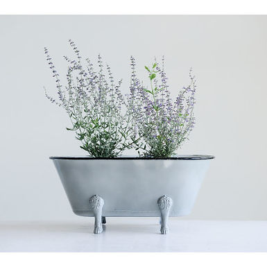 Decorative Grey Metal Bathtub Container with Feet