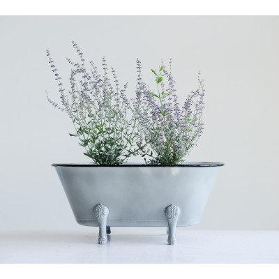 Decorative Grey Metal Bathtub Container with Feet