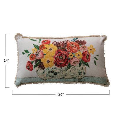 Lumbar Fringe & Flowers in Vase Cotton Pillow