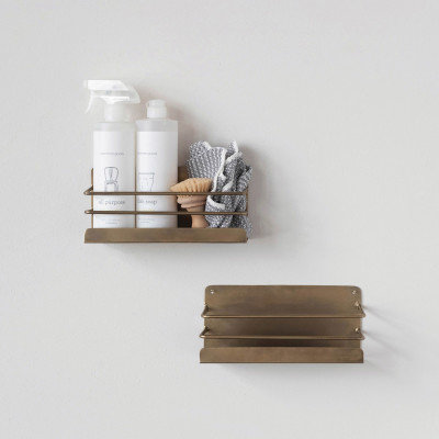 Metal Wall Rack with 1 Shelf, Antique Brass Finish