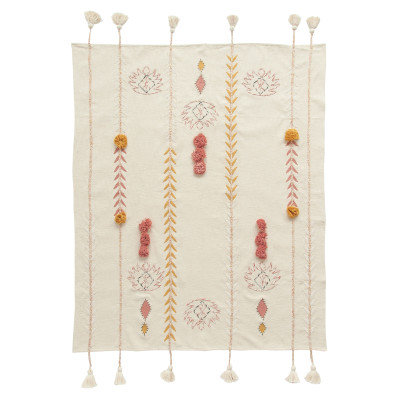 Embroidered Cream Cotton Throw with Decorative Applique, Pom Poms & Tassels