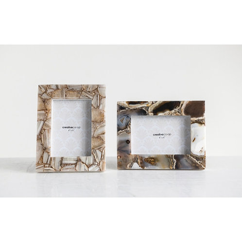 """7""""W x 9""""H Agate Photo Frame, Brown (Holds 4"""" x 6"""" Photo) (Each One Will Vary)"""