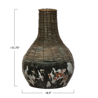 Hand-Woven Rattan & Clay Vase, Distressed Black (Each One Will Vary)