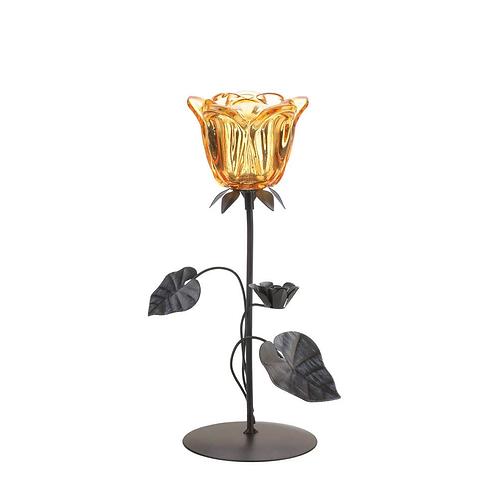 Amber Floral Candle Holder