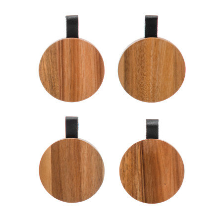 Acacia Wood Coasters with Black Leather Tabs, Set of 4
