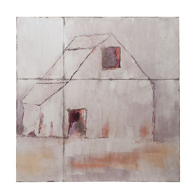 """36"""" Square Metal Wall Decor with Barn"""