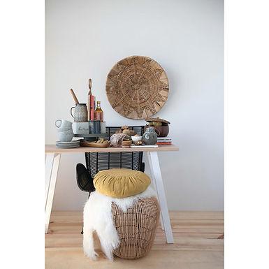 "27.5"" Round Handwoven Banana Bark & Water Hyacinth Basket Wall Decor"