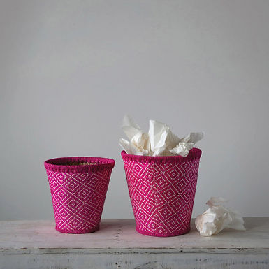 Hand-Woven Seagrass Baskets with Pattern, Fuchsia, Set of 2