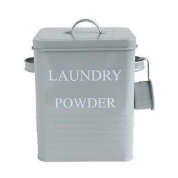 """Laundry Powder"" 3 Piece Grey Metal Container with Lid & Scoop"