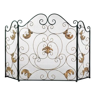Gold Fleur-De-Lis Fireplace Screen
