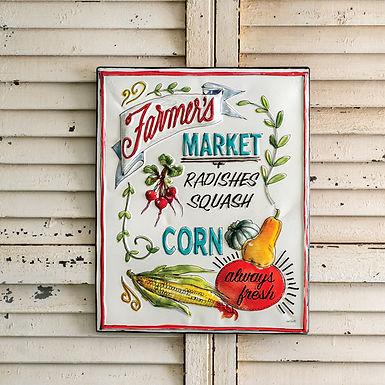 Farmers Market Metal Sign