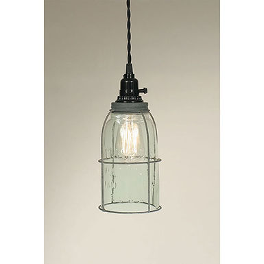 Half Gallon Caged Mason Jar Pendant Lamp - Barn Roof