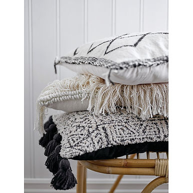 """20"""" Square Woven Wool & Cotton Blend Pillow with Diamond Pattern & Braided Trim"""