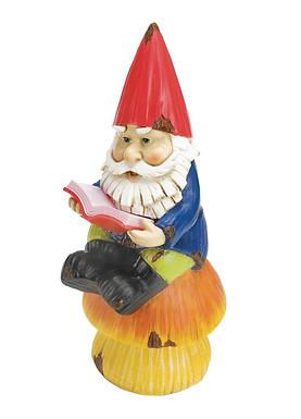 Bookworm Gnome Solar Statue