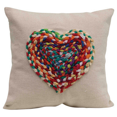 Appliqued Chindi Heart Square Cotton Pillow