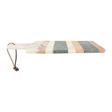 """15""""L Rectangle Marble Cheese/Cutting Board with Stripes, Handle & Leather Strap"""