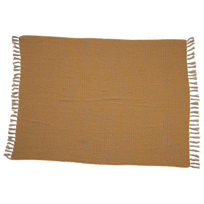 """60""""L x 50""""W Woven Cotton Throw with Fringe"""