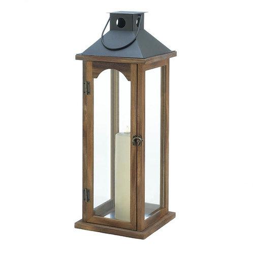 Large Simple Metal Top Wooden Lantern