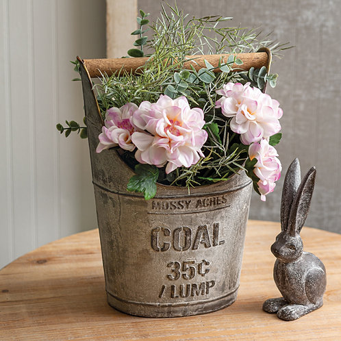 Coal Bucket with Wooden Handle