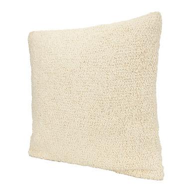 Cream Square Woven Cotton Boucle Pillow