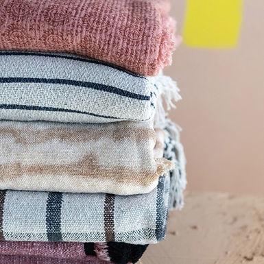 Cotton Blend Tie-Dyed Throw with Tassels, Brown & Beige