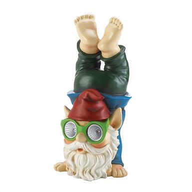 Handstand Solar Gnome Figurine