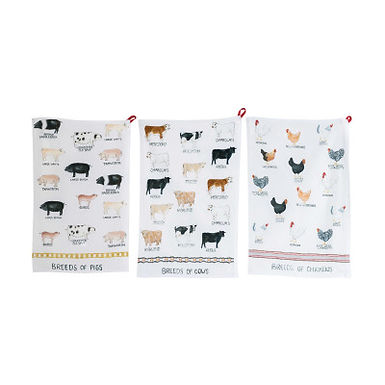 Cotton Tea Towel with Farm Animal Image (Set of 3 Animal Designs)