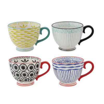 Hand Painted Stoneware Cups (Set of 4 Designs)