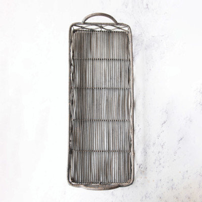 Decorative Hand-Woven Rattan Tray with Handles, Grey