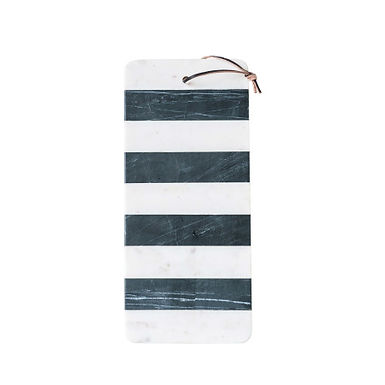 Black & White Striped Marble Board with Leather Tie