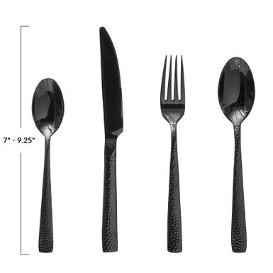 Hammered Stainless Steel Cutlery, Black, Set of 4 in Drawstring Bag