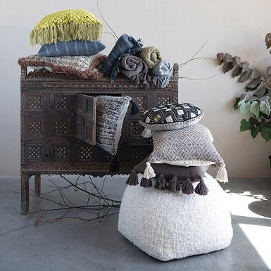 Cotton Slub Lumbar Pillow with Tassels, Iron Color