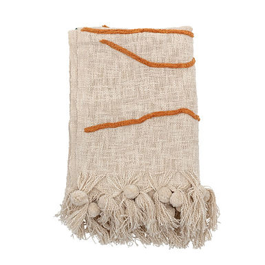 Cream Color Cotton Embroidered Throw Blanket with Tassels