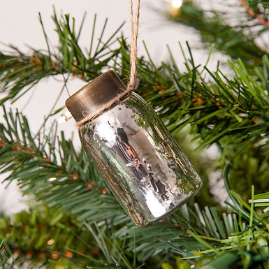 Glass Mini Mason Jar Hanging Christmas Ornament - Mercury Silver - Box of 6