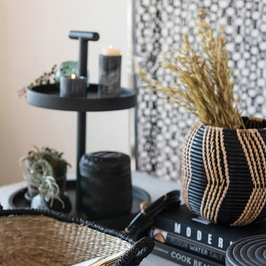 Hand-Woven Rattan Basket with Lid, Black & Natural