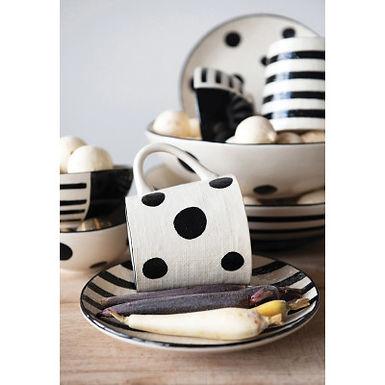 """5"""" Round x 2-1/4""""H Hand-Painted Stoneware Bowl, Black & White, 2 Styles"""