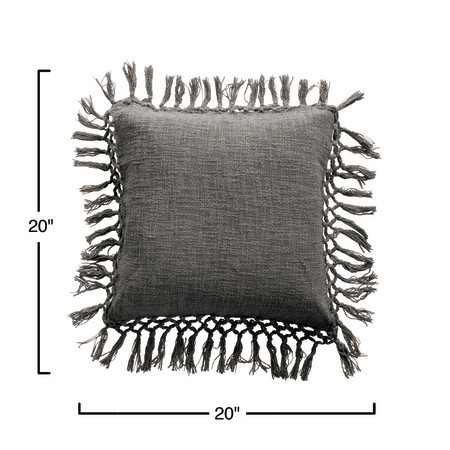 Grey Square Cotton Slub Pillow with Tassels