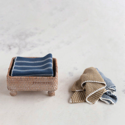 Hand-Woven Rattan Napkin Holder, Whitewashed