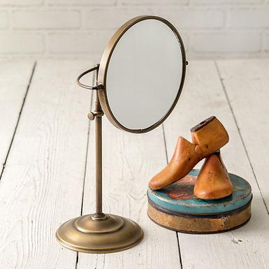 Adjustable Round Brass Table Mirror