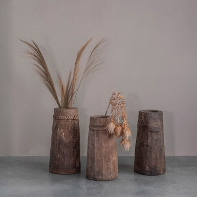 """9"""" Round x 22""""H Found Decorative Teakwood Container (Each One Will Vary)"""