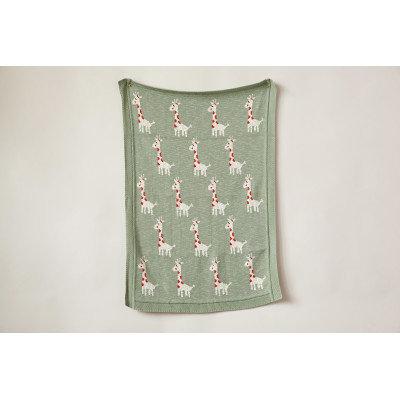 Green Cotton Knit Giraffe Blanket
