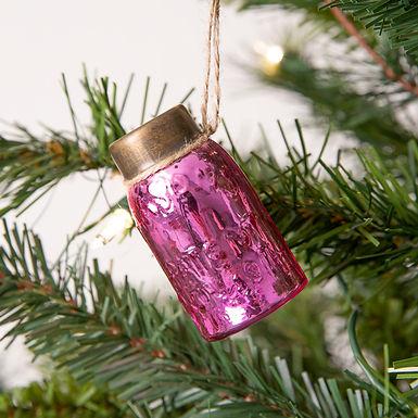 Glass Mini Mason Jar Hanging Christmas Ornament - Mercury Pink - Box of 6