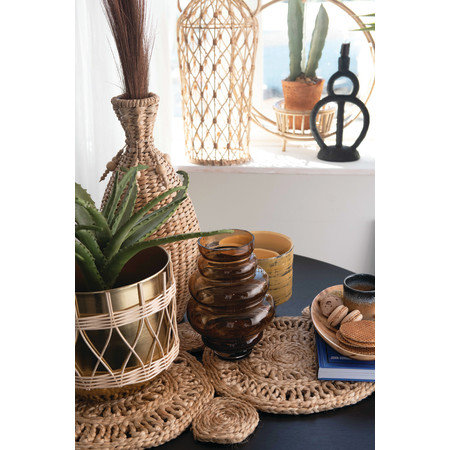 """Decorative 18.5""""H Water Hyacinth Vase with Beaded Tassels"""
