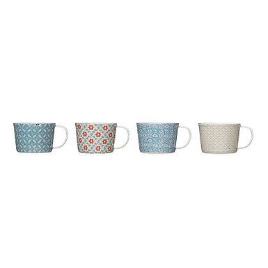 12 oz. Enameled Floral Mug with Distressed Finish (Set of 4 Patterns)