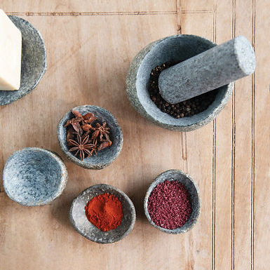 """4-1/2"""" Round x 3""""H Natural Stone Mortar & Pestle, Set of 2 (Each One Will Vary)"""