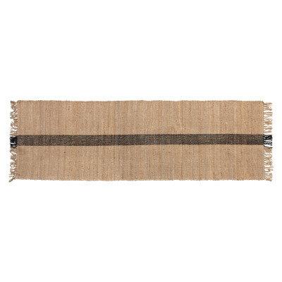 Jute & Cotton Floor Runner with Black Woven Stripe, Natural