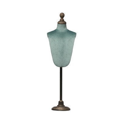 Adjustable Height Metal, Wood & Velvet Mannequin Stand with Round Base