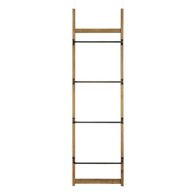 "70.75""H Fir Wood Wall Rack with 4 Metal Bars"